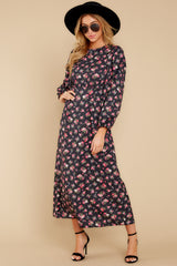 4 Who Is She Black Floral Print Dress at reddressboutique.com