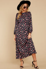 5 Who Is She Black Floral Print Dress at reddressboutique.com