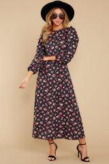 7 Who Is She Black Floral Print Dress at reddressboutique.com