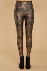 3 Faux Leather Leopard Leggings at reddressboutique.com