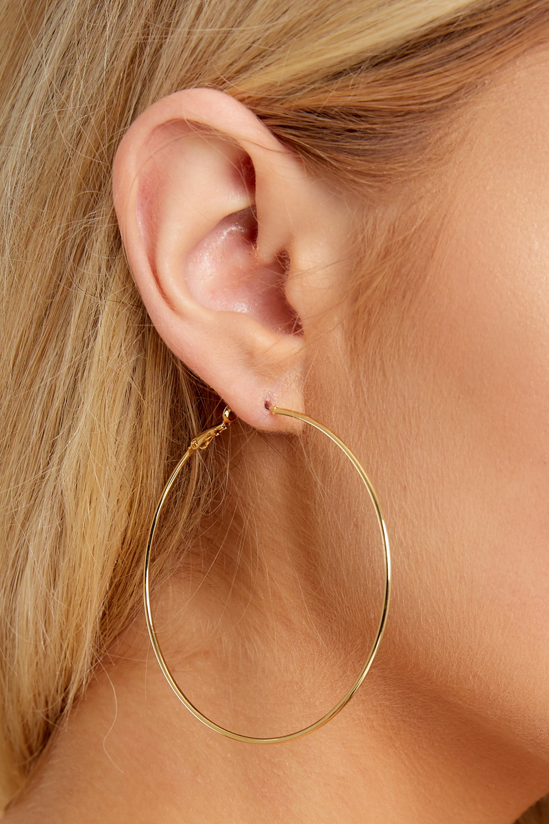 1 Happy Hour Gold Hoop Earrings at reddressboutique.com