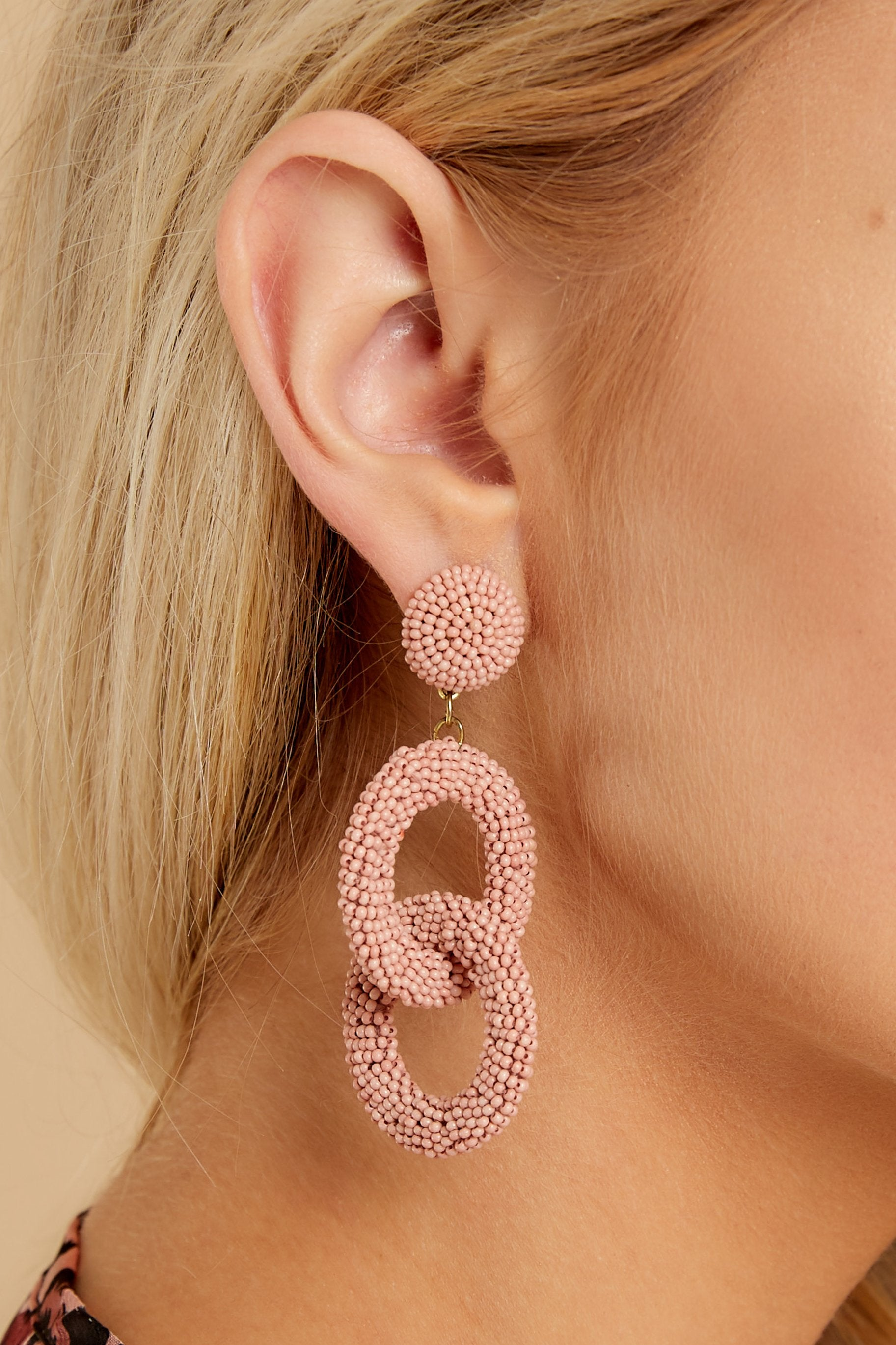 1 What Really Matters Blush Beaded Earrings at reddressboutique.com