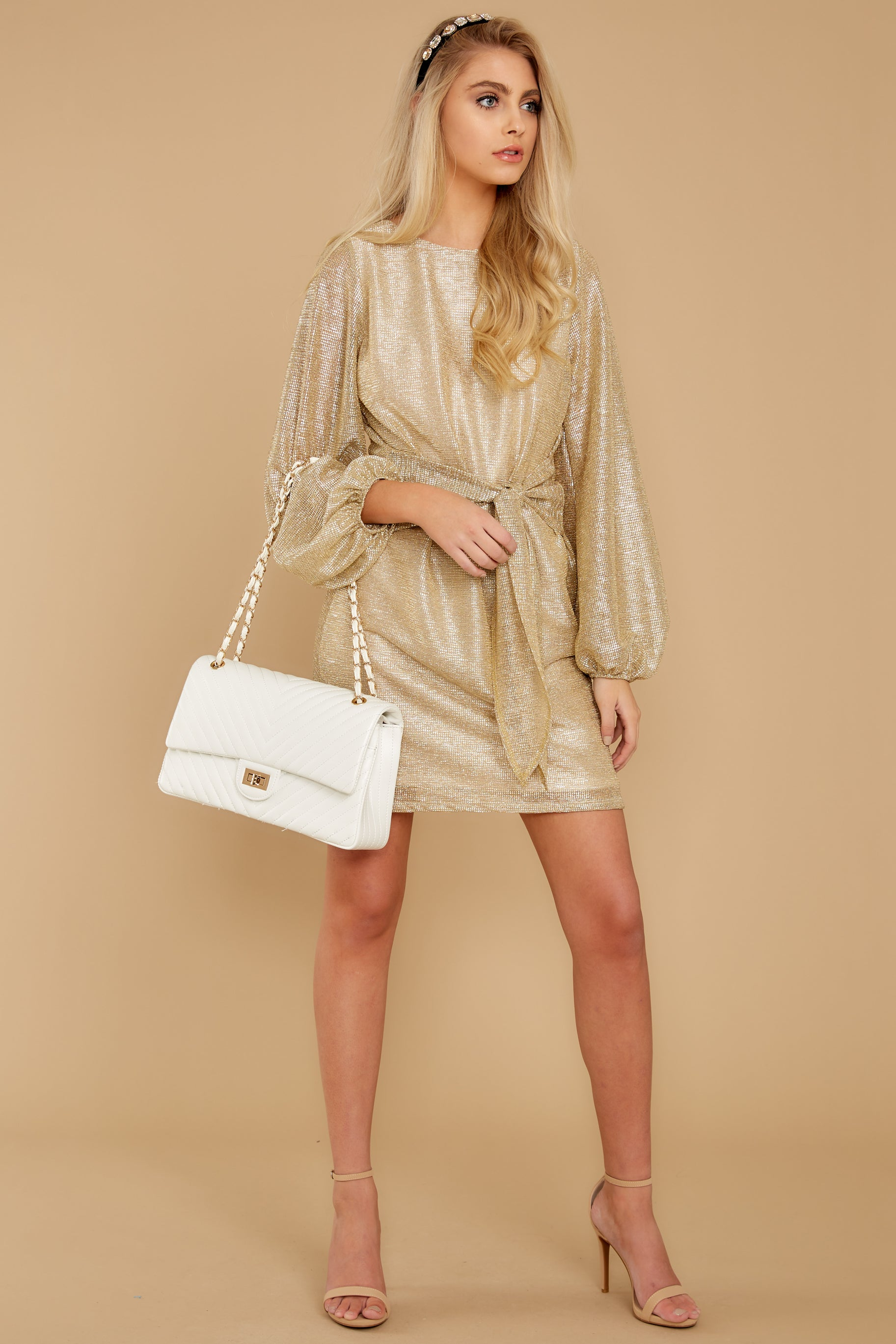 1 Don't Think About Tomorrow Gold Dress at reddressboutique.com