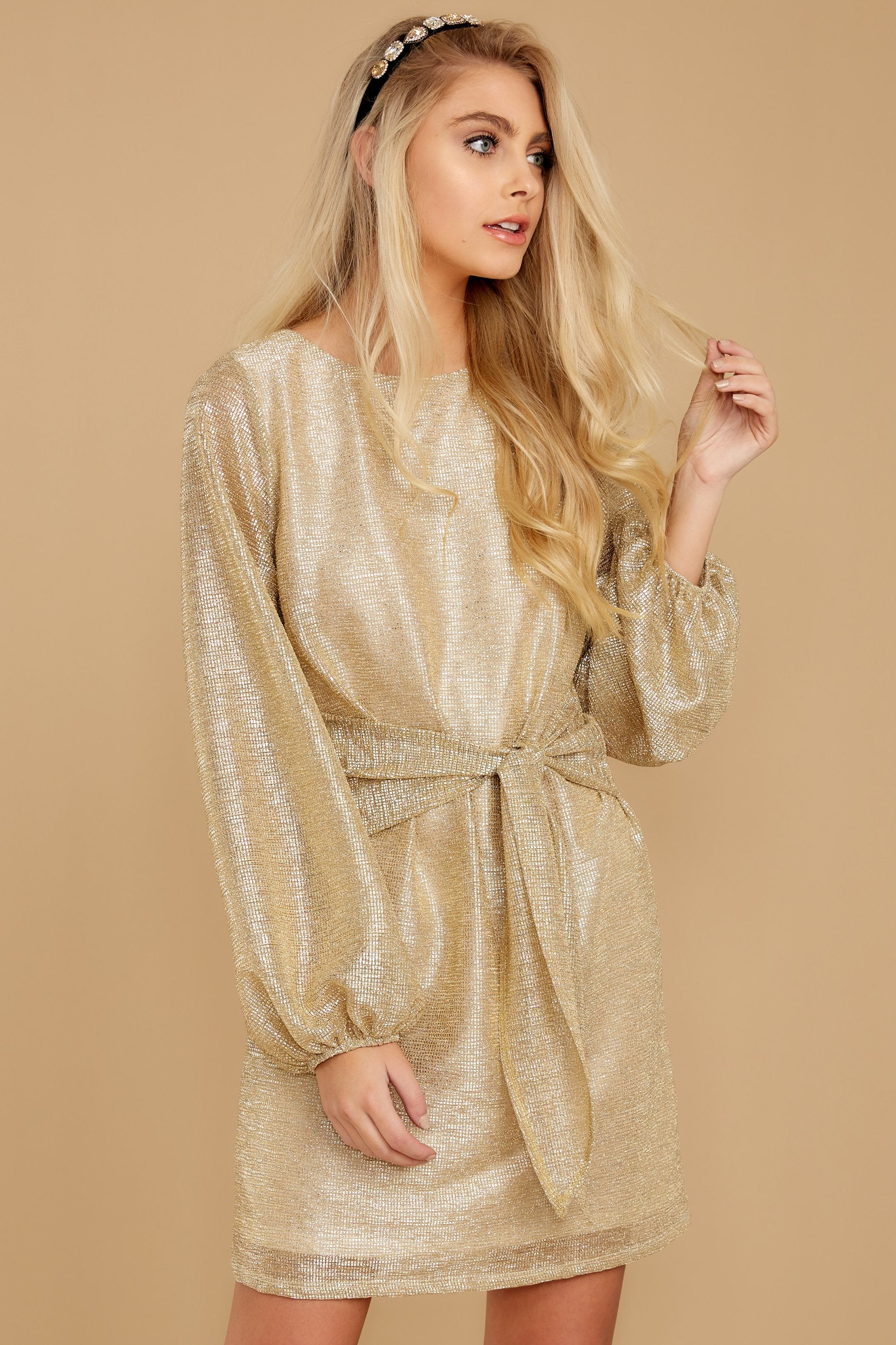 4 Don't Think About Tomorrow Gold Dress at reddressboutique.com