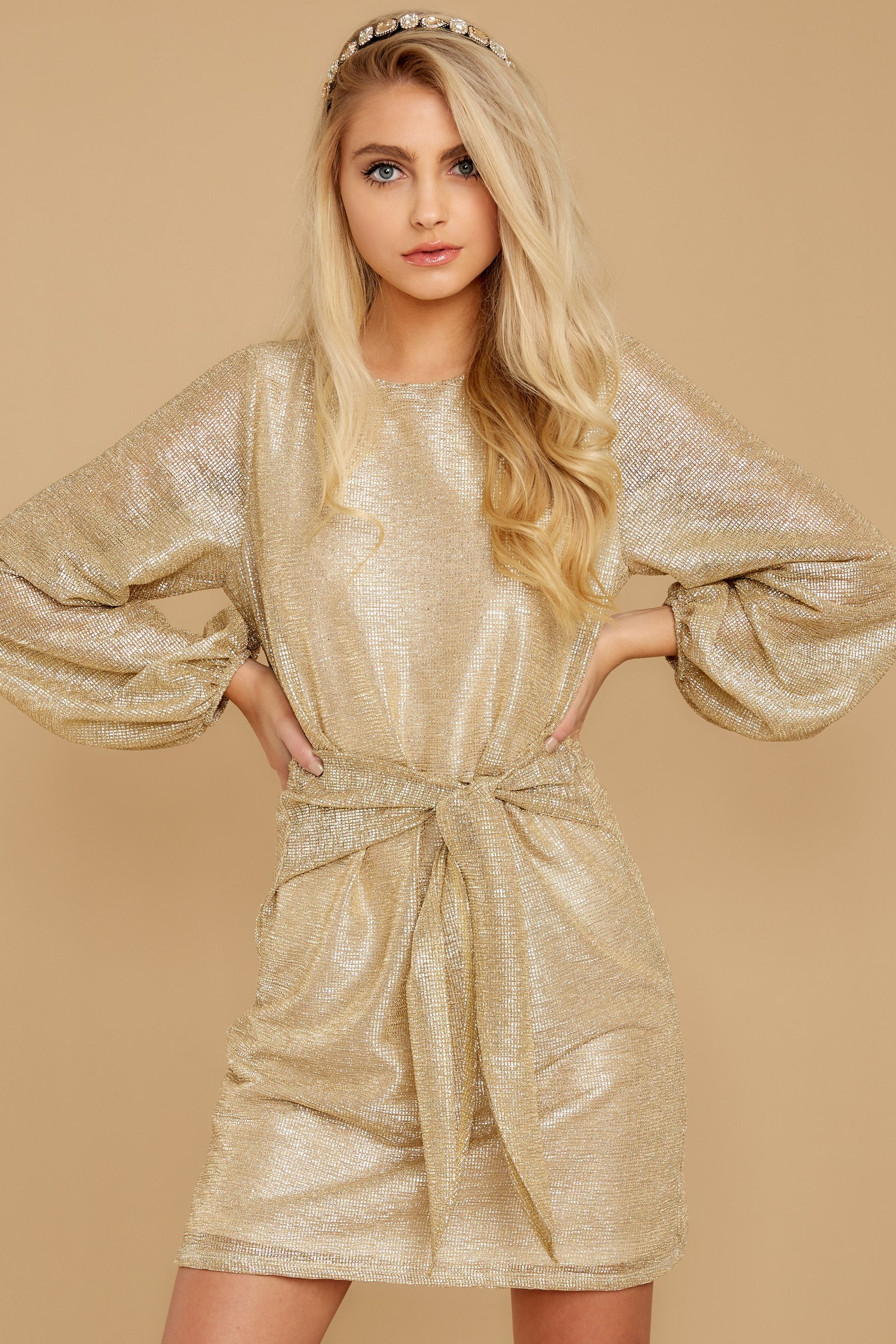 5 Don't Think About Tomorrow Gold Dress at reddressboutique.com