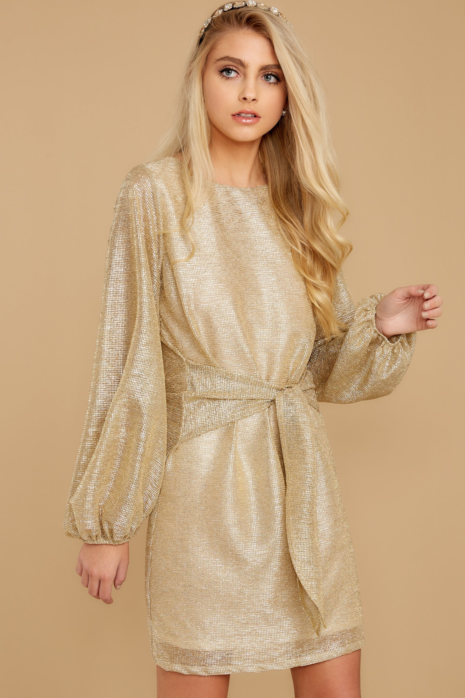 6 Don't Think About Tomorrow Gold Dress at reddressboutique.com