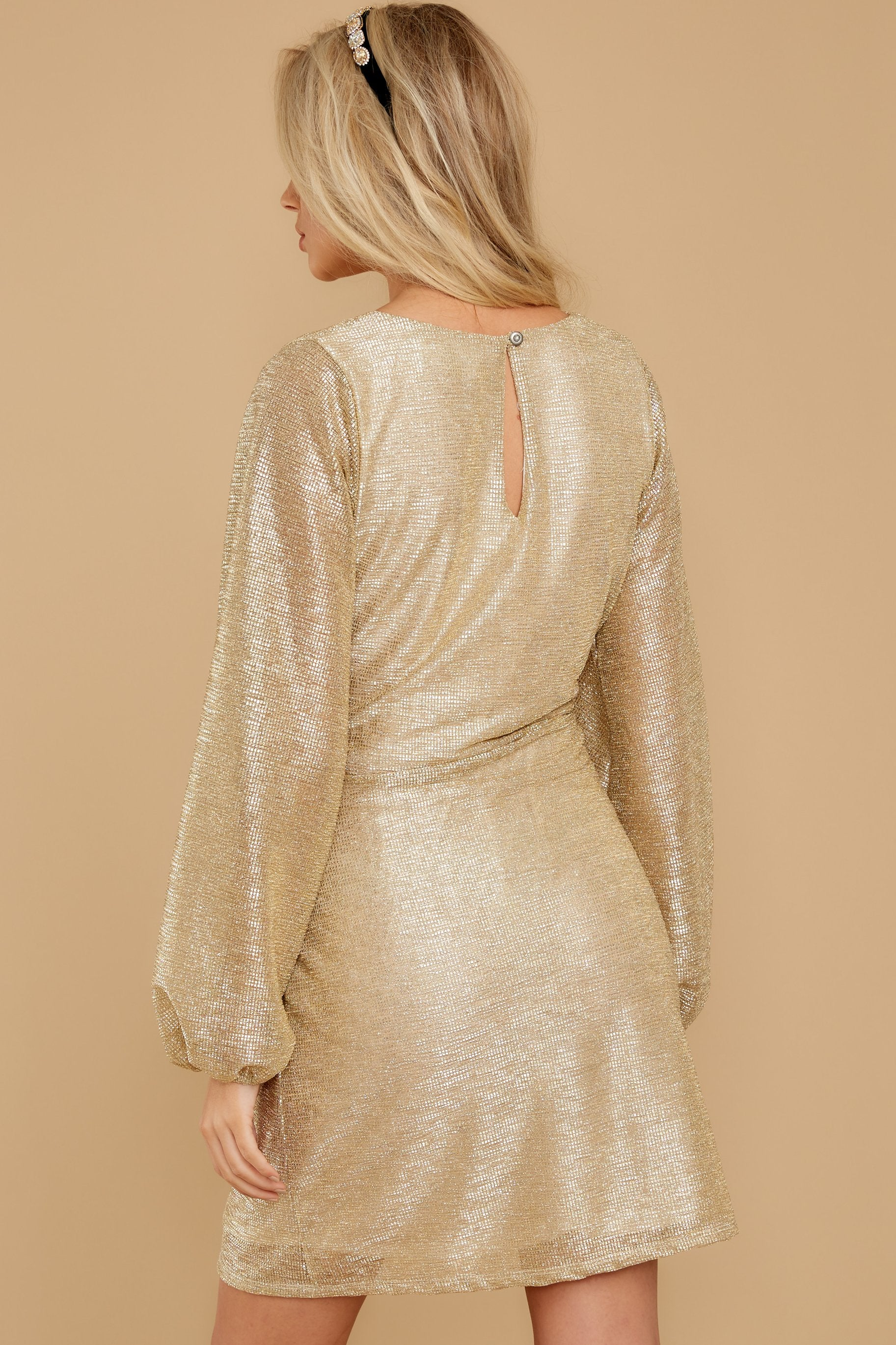 8 Don't Think About Tomorrow Gold Dress at reddressboutique.com