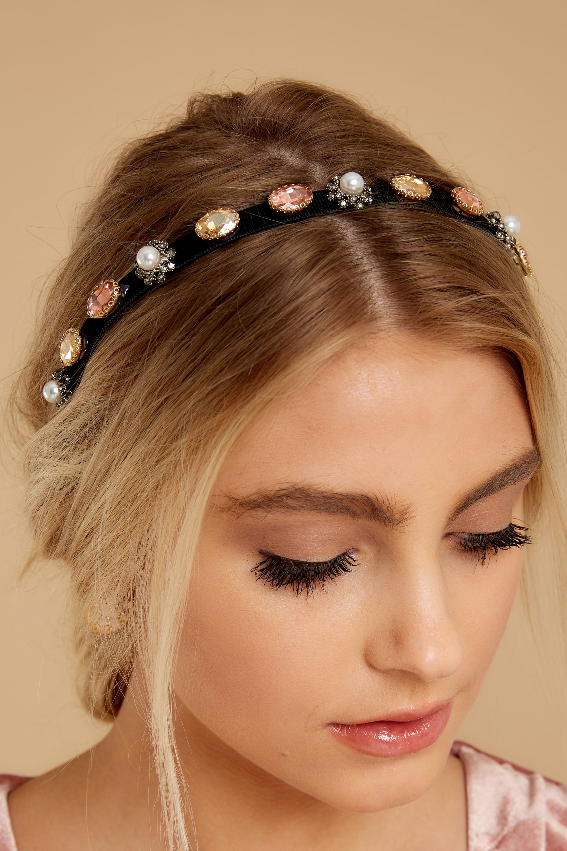 1 Beginning Of Something New Black Embellished Headband at reddressboutique.com
