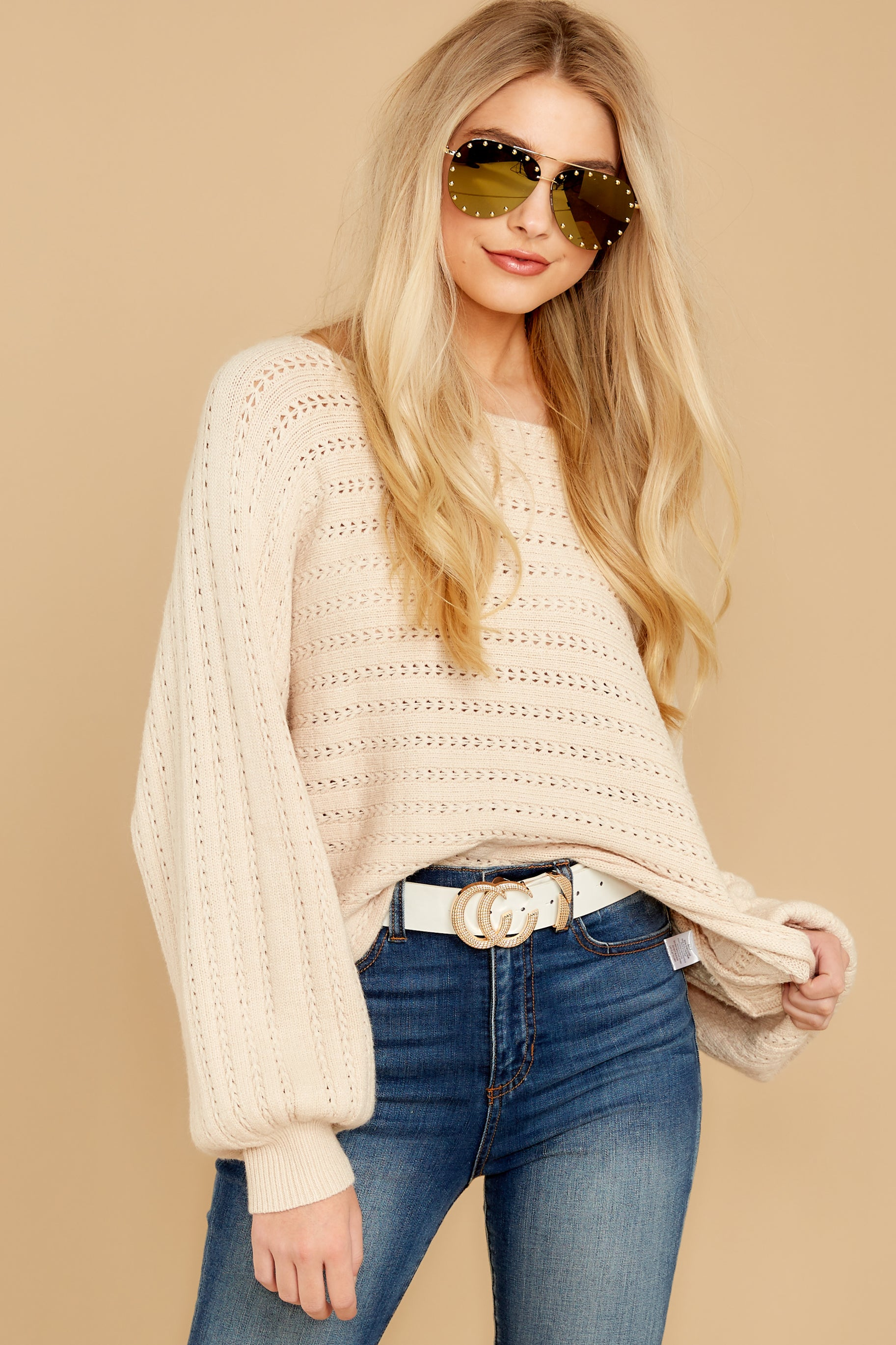 5 As I Am Sand Beige Sweater at reddressboutique.com
