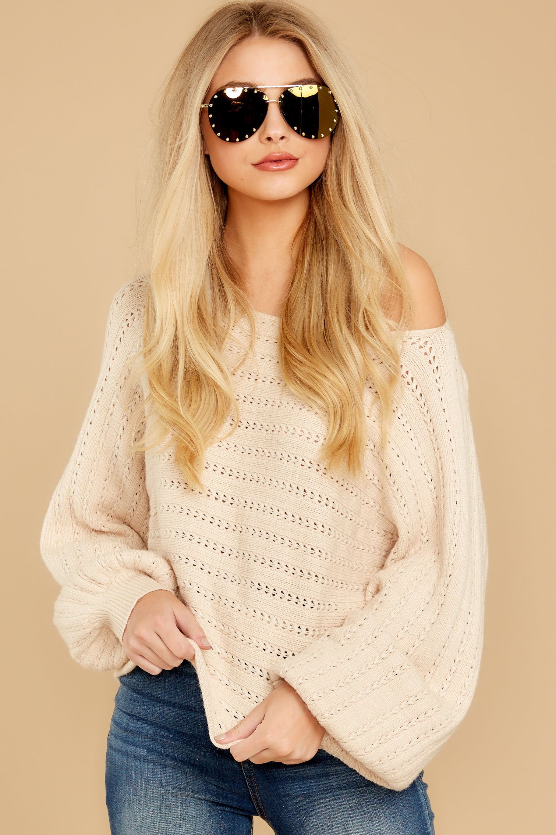 6 As I Am Sand Beige Sweater at reddressboutique.com