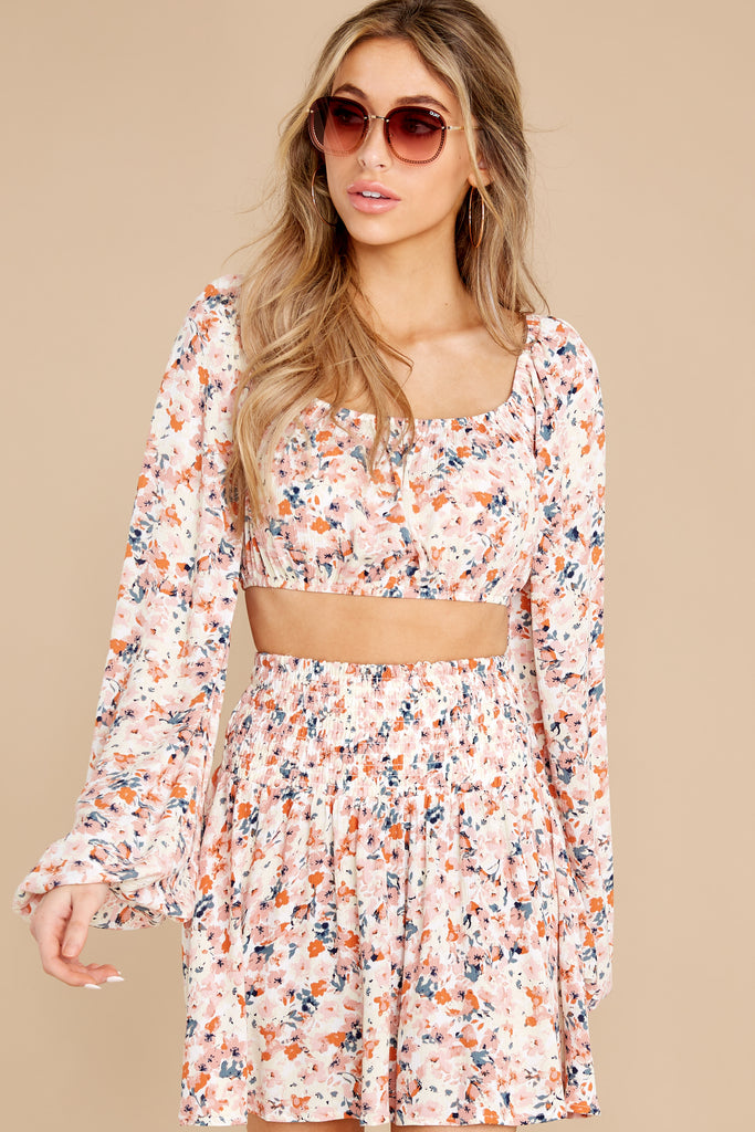 1 On Record Blue Floral Print Crop Top at reddress.com