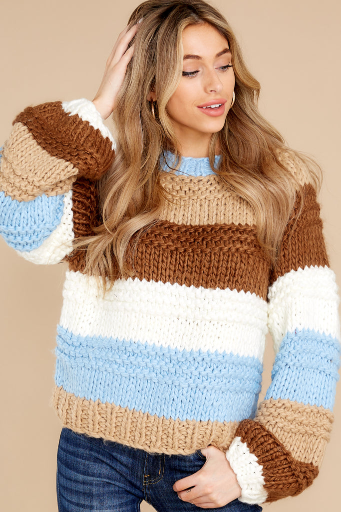 9 Shifting Winds Brown Multi Sweater at reddress.com