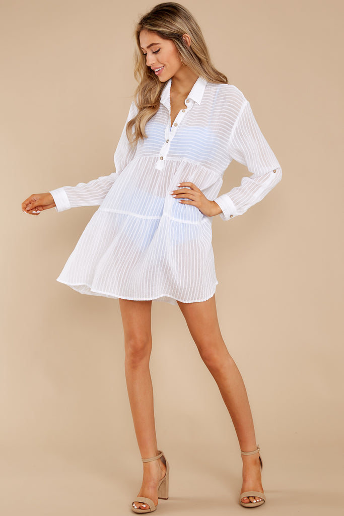 1 Sheerly Simple White Tunic Top at reddress.com