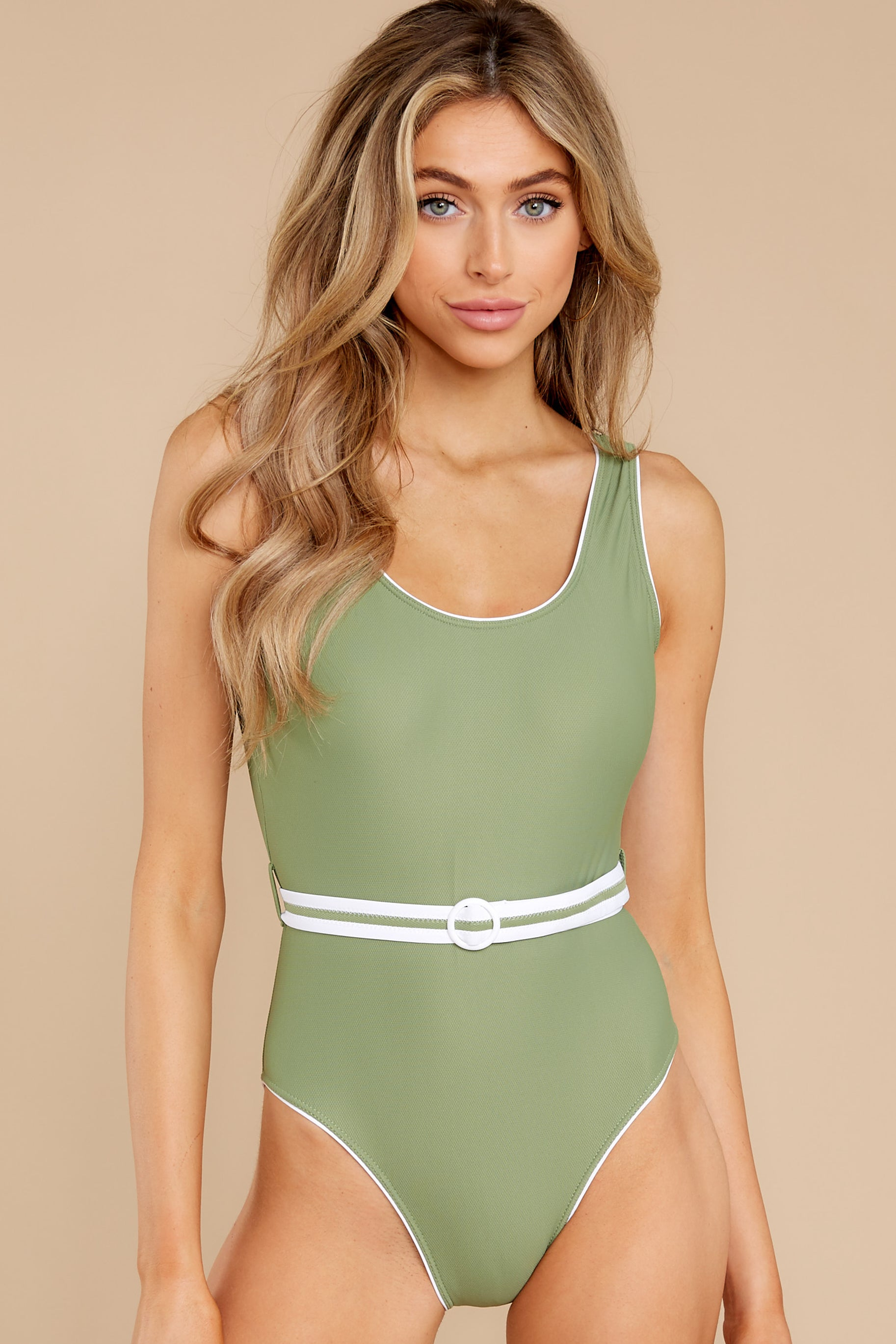 1960s Style Clothing & 60s Fashion In The Surf Green One Piece Swimsuit Swimwear $46.00 AT vintagedancer.com