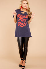 1 Rock And Roll Navy Blue Tee at reddressboutique.com