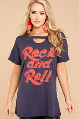 4 Rock And Roll Navy Blue Tee at reddressboutique.com