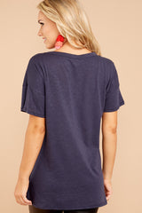 5 Rock And Roll Navy Blue Tee at reddressboutique.com