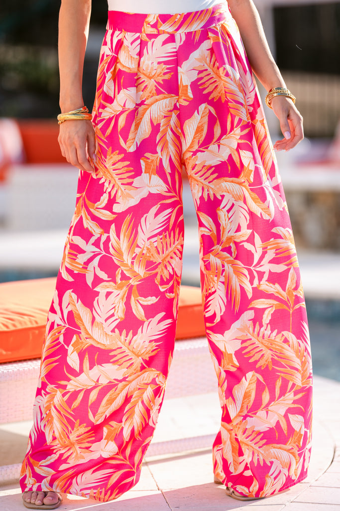 1 Day Trip To Paradise Orange And Fuchsia Print Pants at reddress.com