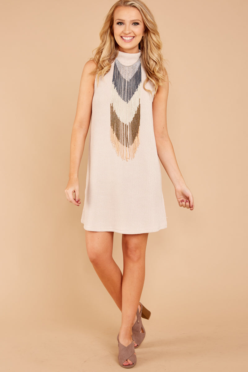 4 While You Can Light Taupe Knit Dress at reddressboutique.com
