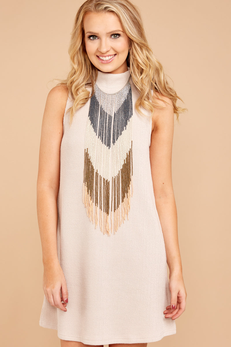 1 While You Can Light Taupe Knit Dress at reddressboutique.com