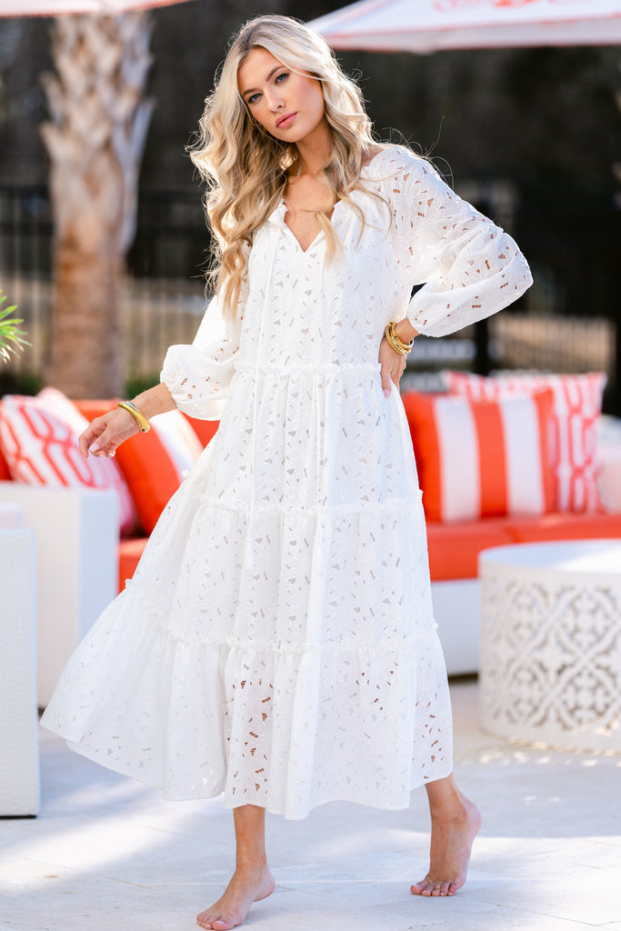 1 PRE-SALE: Far From Over White Floral Eyelet Maxi Dress (SECOND BACKORDER JUNE) at reddress.com