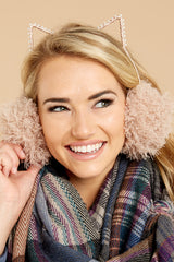 1 Me-WOW Dusty Pink Earmuffs at reddressboutique.com