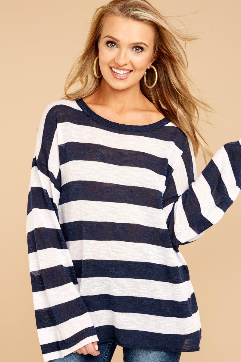 2 Had To Be You Navy Stripe Top at reddressboutique.com