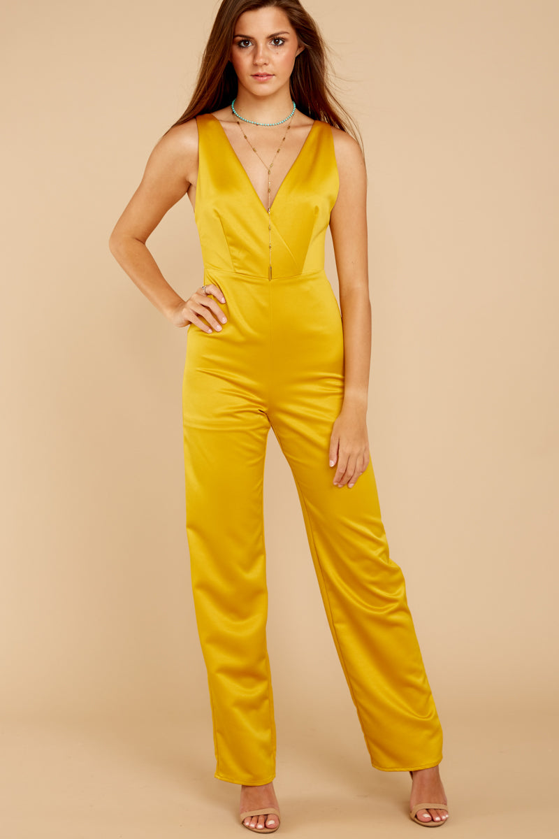4 Legends Only Yellow Jumpsuit at reddressboutique.com