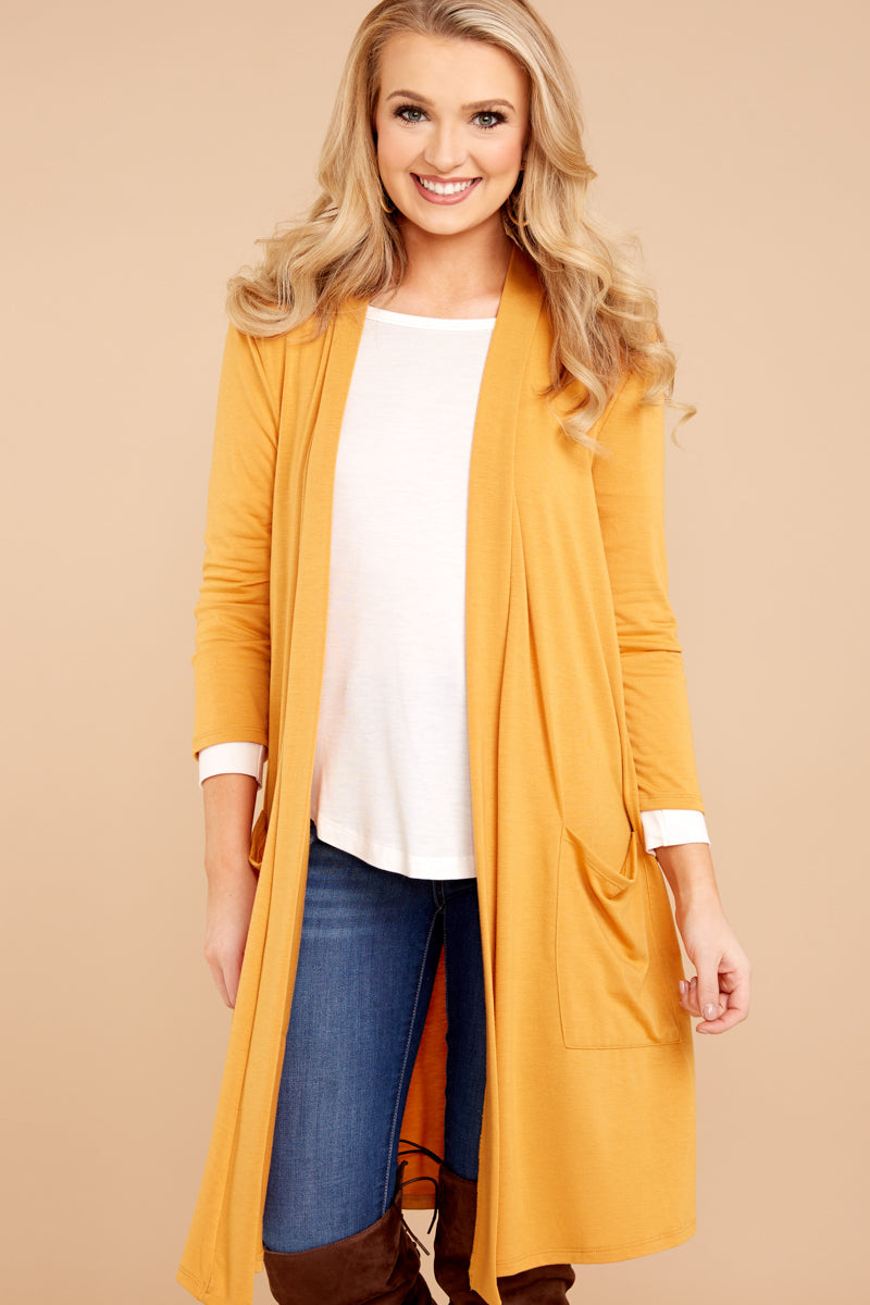 4 Fall Motto Goldenrod Yellow Cardigan at reddressboutique.com