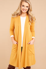 5 Fall Motto Goldenrod Yellow Cardigan at reddressboutique.com