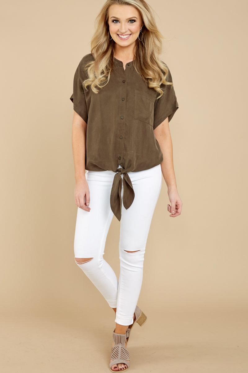 1 Fringe Talk The Talk Olive Green Button Up Top at reddressboutique.com