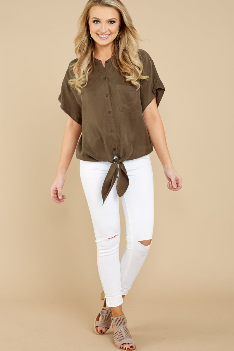 2 Fringe Talk The Talk Olive Green Button Up Top at reddressboutique.com