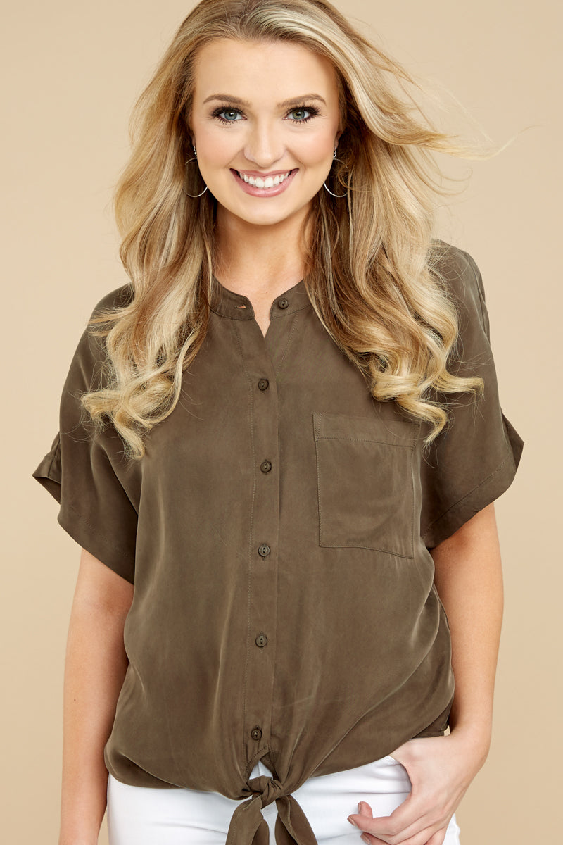 3 Fringe Talk The Talk Olive Green Button Up Top at reddressboutique.com