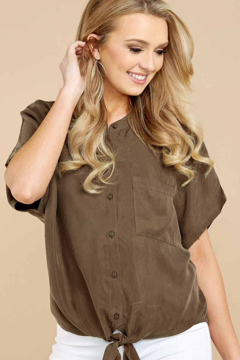 4 Fringe Talk The Talk Olive Green Button Up Top at reddressboutique.com