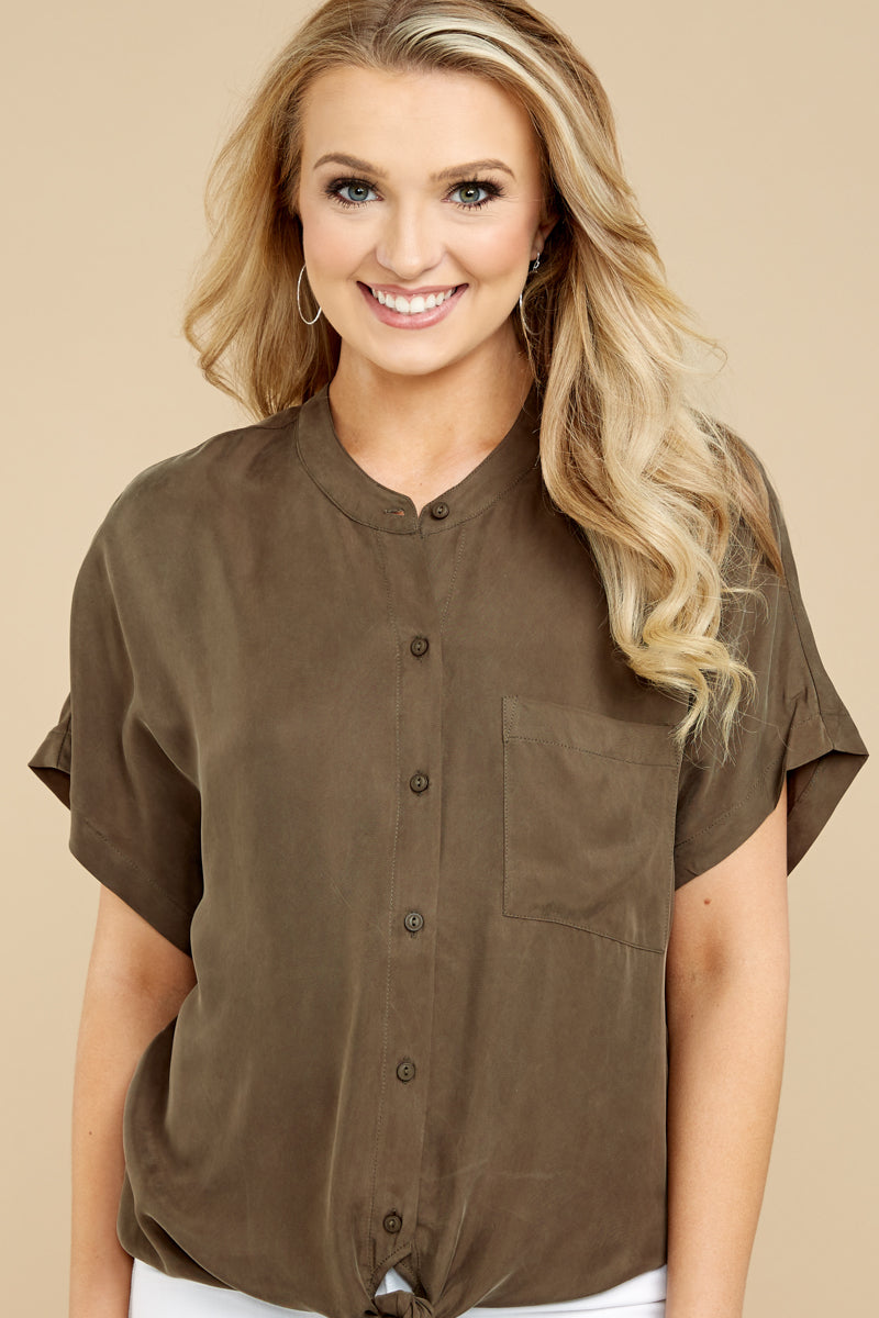 6 Fringe Talk The Talk Olive Green Button Up Top at reddressboutique.com