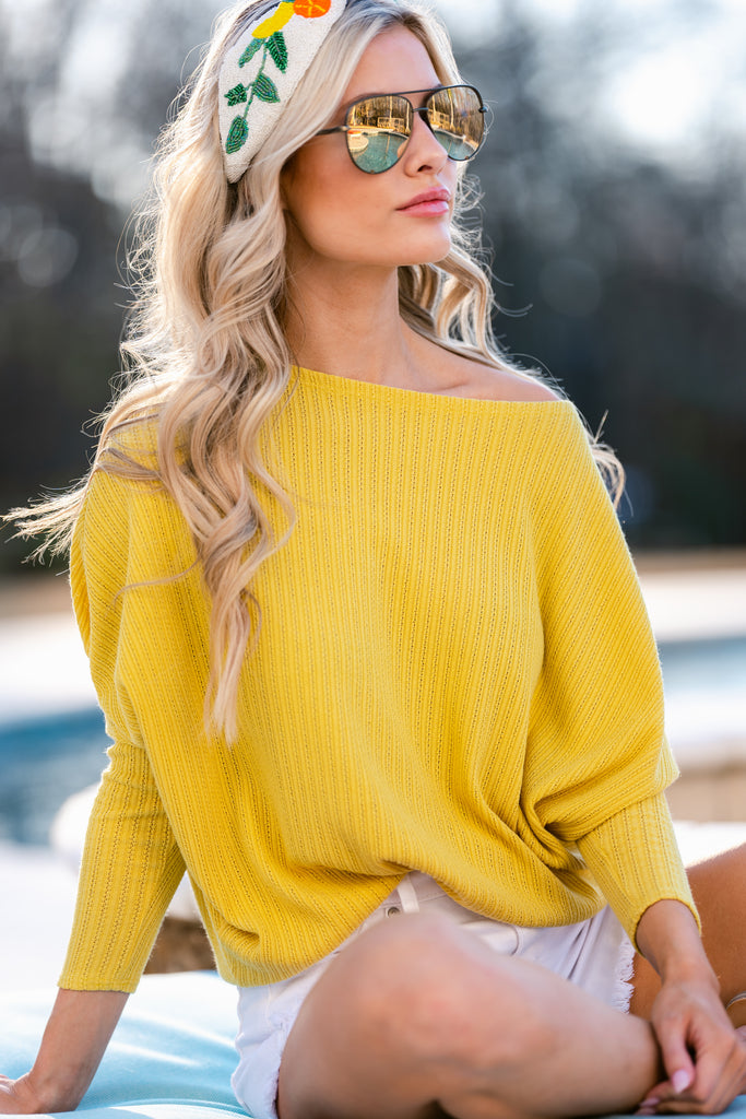 1 On Being Kind Sunlight Yellow Knit Sweater at reddress.com