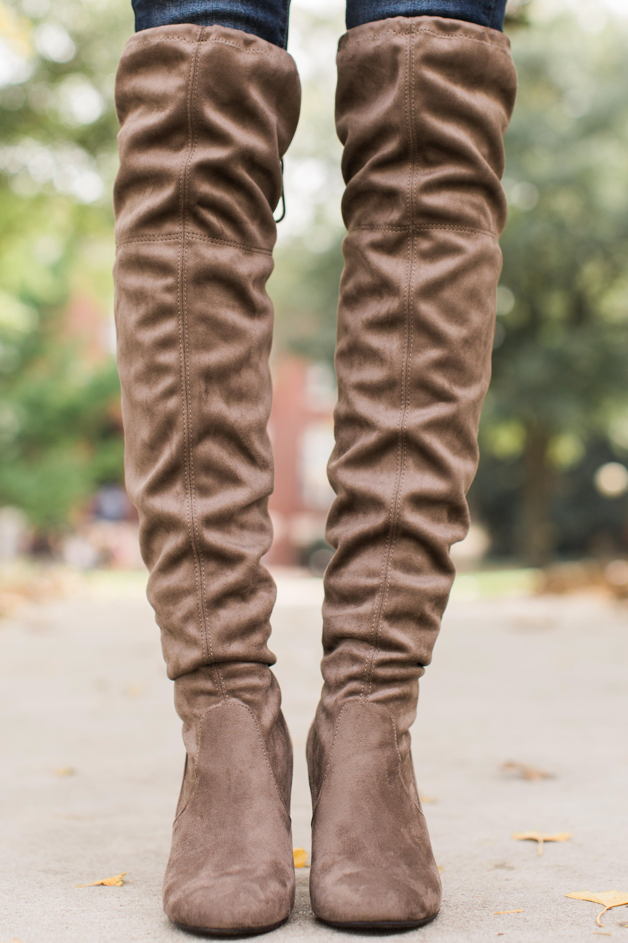 2 Great Strides Taupe Knee High Boots at reddressboutique.com