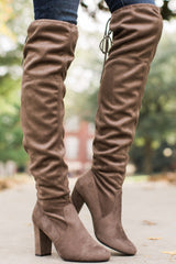 1 Great Strides Taupe Knee High Boots at reddressboutique.com