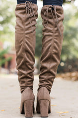 4 Great Strides Taupe Knee High Boots at reddressboutique.com