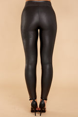 5 Black Faux Leather Leggings at reddressboutique.com
