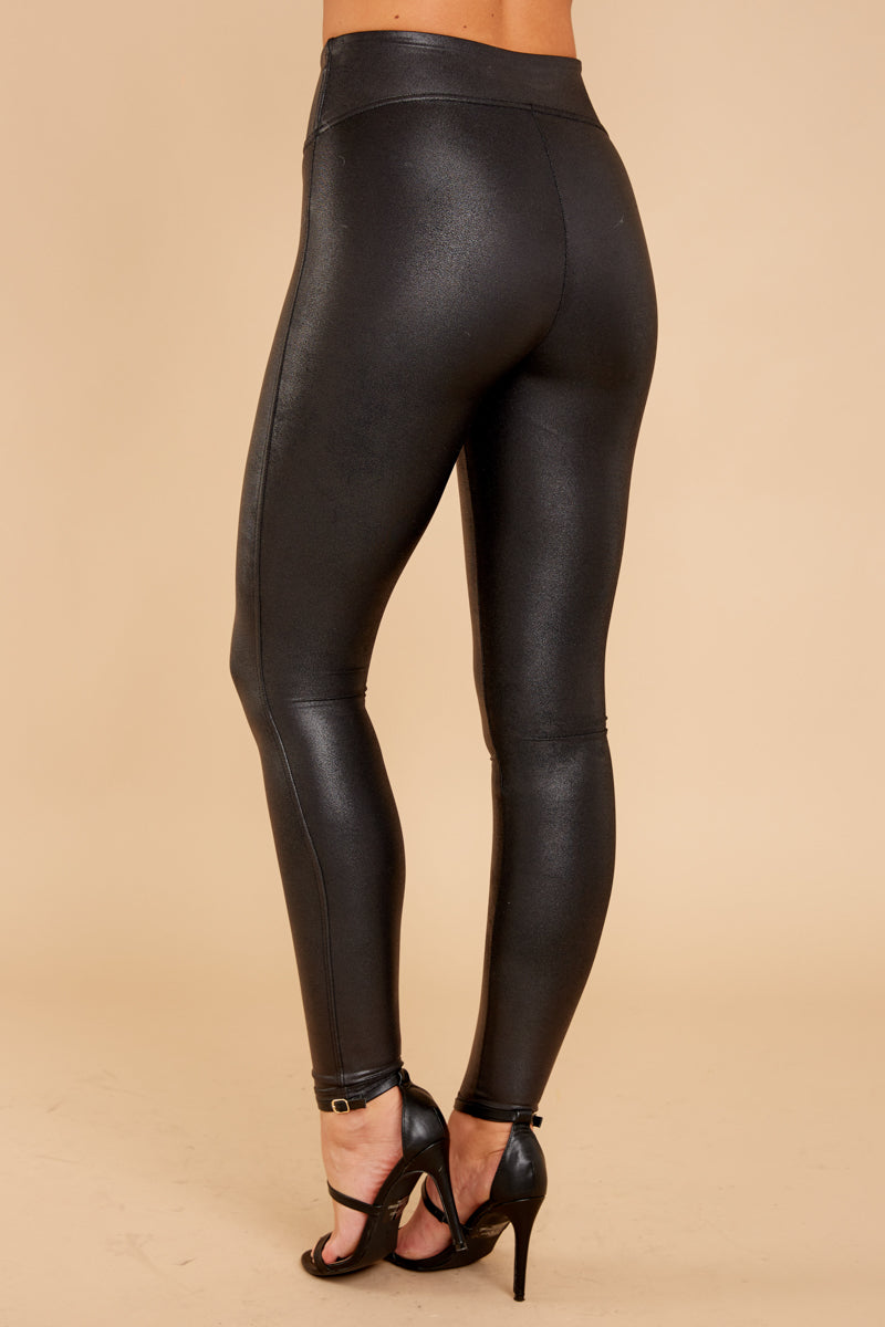 4 Black Faux Leather Leggings at reddressboutique.com