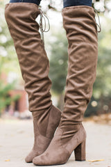 3 Great Strides Taupe Knee High Boots at reddressboutique.com