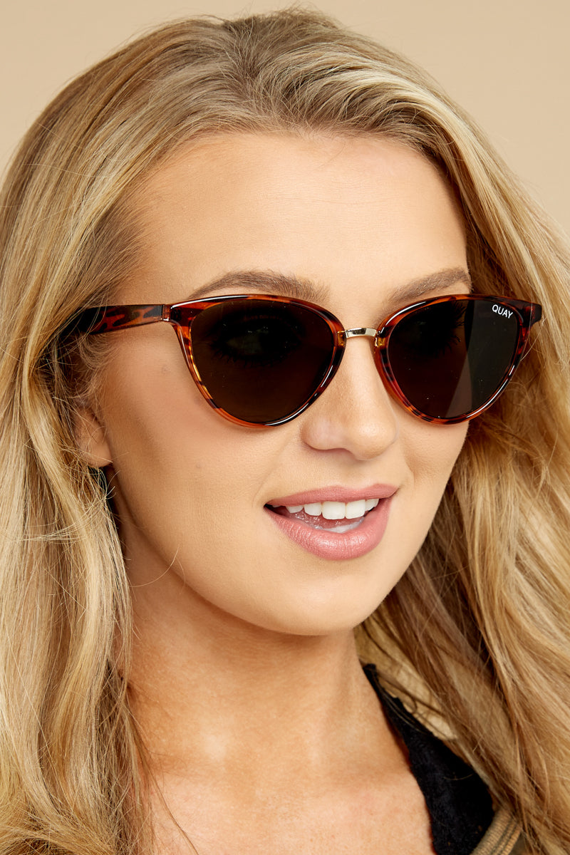 1 Quay Australia Rumours Tortoise Green Sunglasses at reddressboutique.com