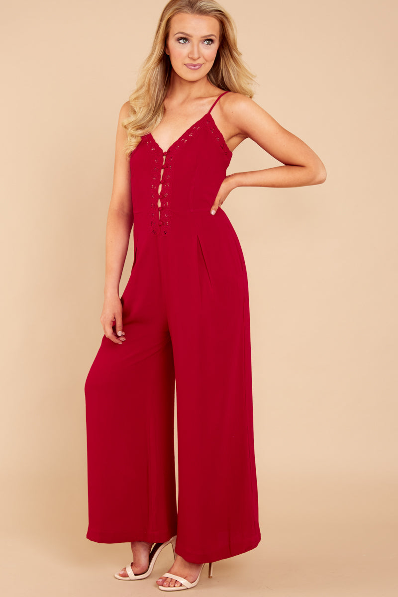 2 More Than A Fling Red Jumpsuit at reddressboutique.com
