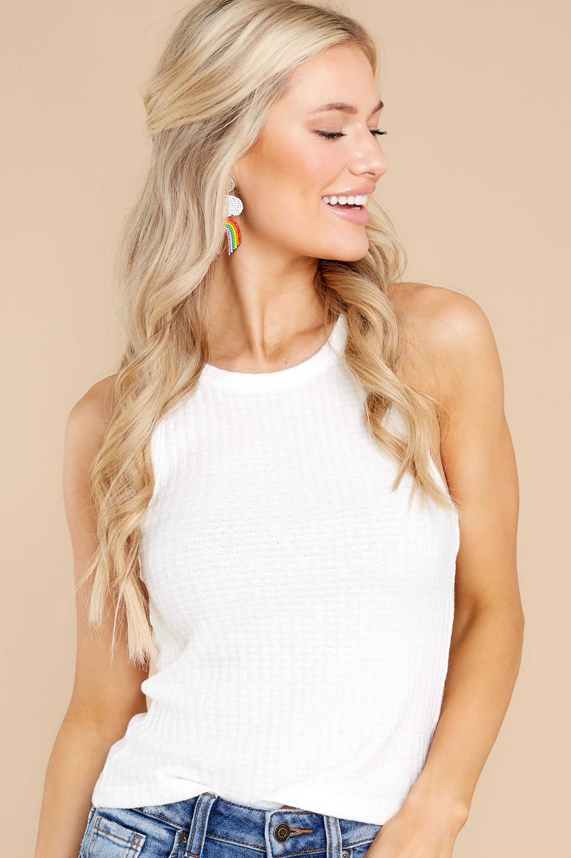 4 Here With You White Tank Top at reddress.com