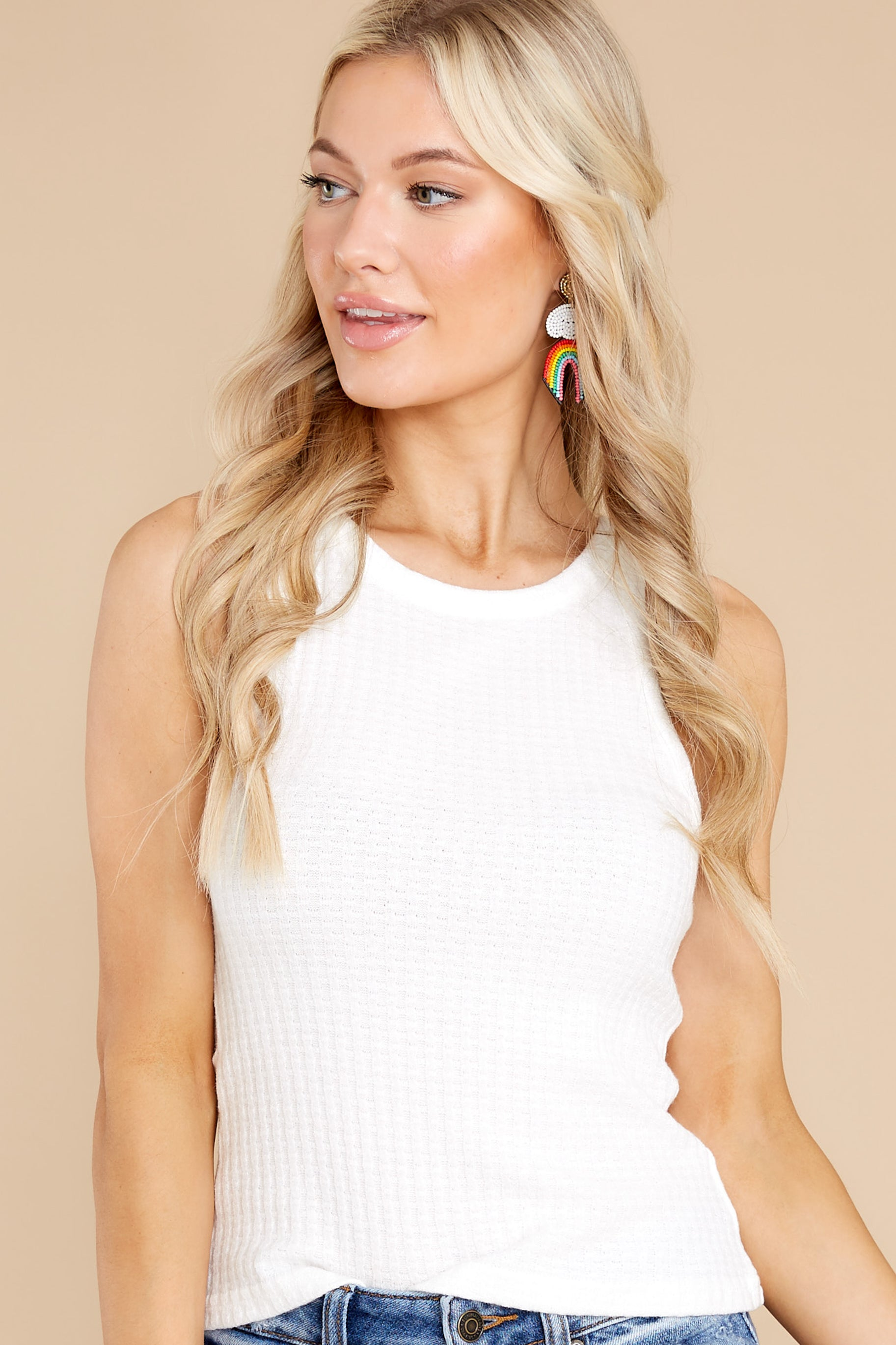 6 Here With You White Tank Top at reddress.com