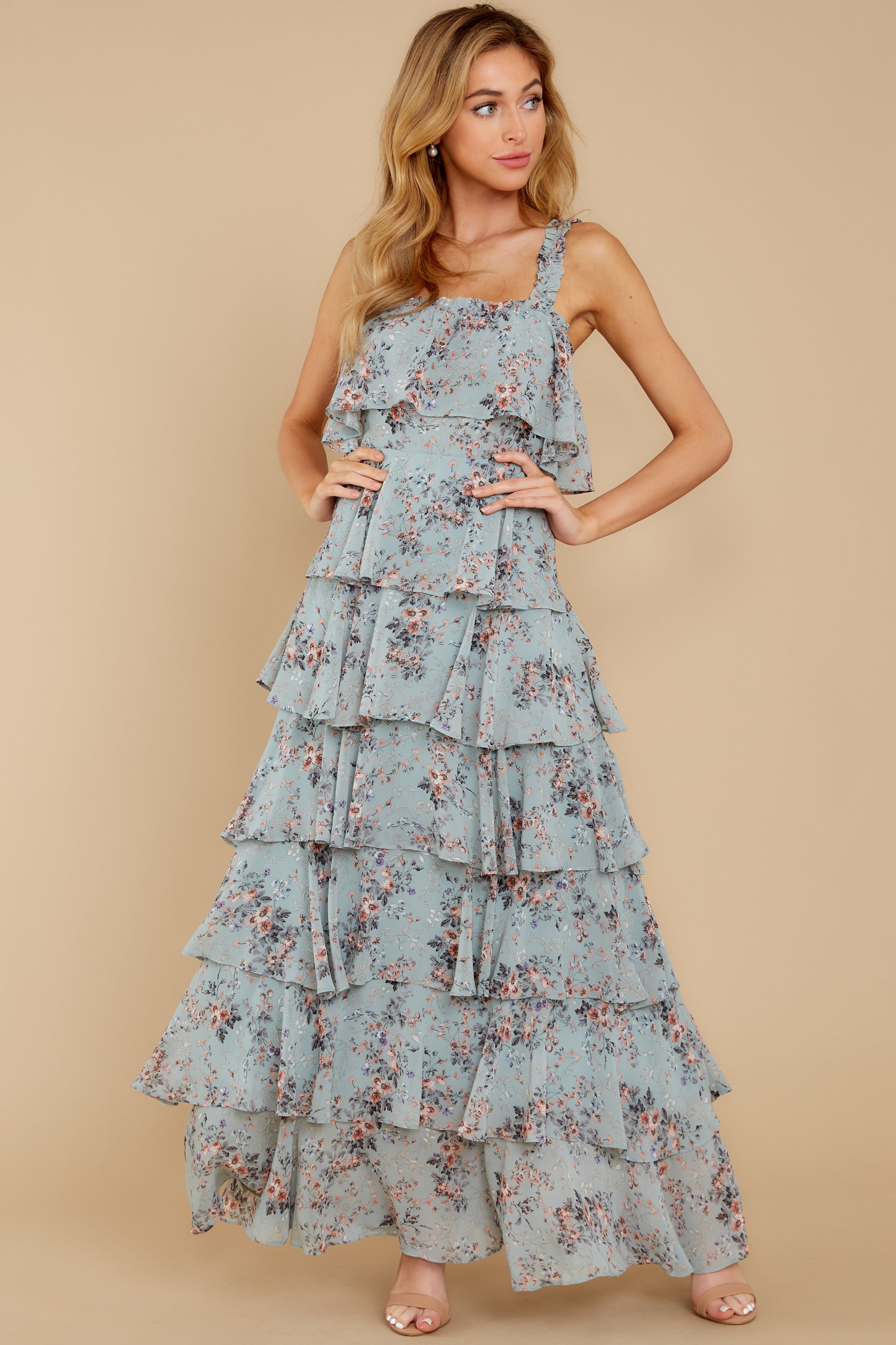 2 The Story's Not Over Light Blue Floral Print Maxi Dress at reddress.com