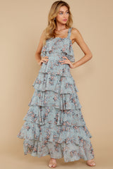 1 The Story's Not Over Light Blue Floral Print Maxi Dress at reddress.com