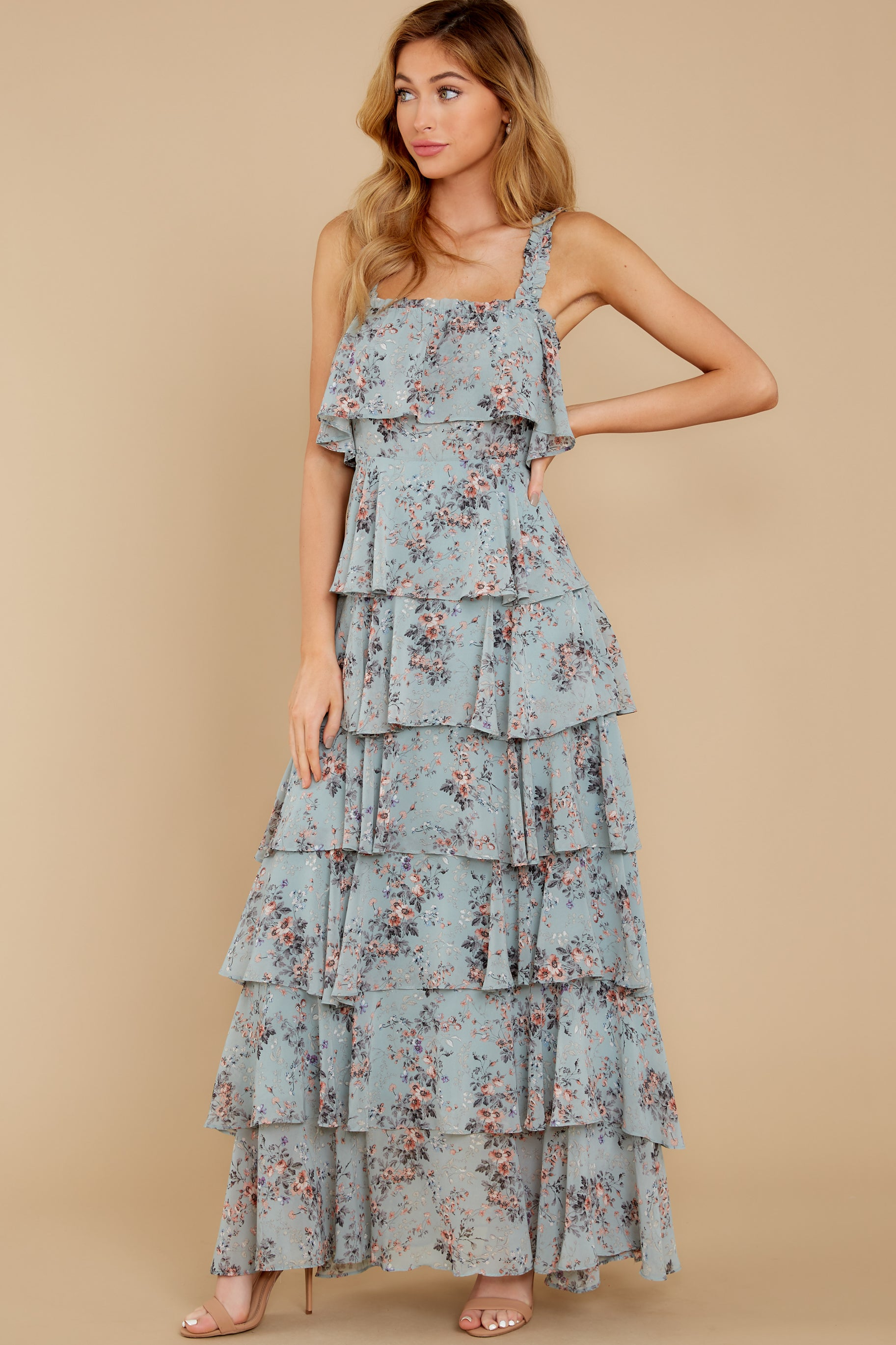 4 The Story's Not Over Light Blue Floral Print Maxi Dress at reddress.com