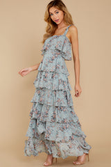 5 The Story's Not Over Light Blue Floral Print Maxi Dress at reddress.com